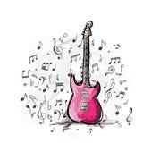 Schizzo di arte di progettazione della chitarra Fotografia Stock