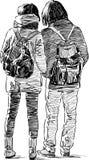 Schizzo di giovani coppie Fotografia Stock