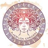 Schizzo di Gorgon della medusa su un fondo di lerciume illustrazione vettoriale