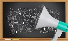 schizzo di istruzione 3d con il megafono Fotografia Stock