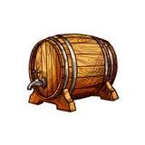 Schizzo di legno del barilotto per progettazione della bevanda dell'alcool illustrazione vettoriale