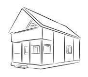 Schizzo di legno suburbano del nero di vettore della casa Immagini Stock Libere da Diritti