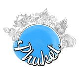Schizzo di logo di viaggio di Phuket Fotografia Stock Libera da Diritti