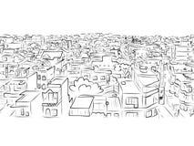 Schizzo di paesaggio urbano, modello senza cuciture per la vostra progettazione Fotografia Stock