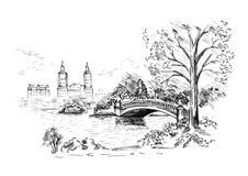 Schizzo di paesaggio urbano nella manifestazione Central Park di New York City Illustrazione di vettore Fotografia Stock Libera da Diritti