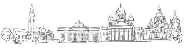 Schizzo di panorama di Helsinki Finlandia illustrazione di stock