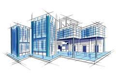 Schizzo di progettazione esteriore del modello del progetto della costruzione illustrazione vettoriale