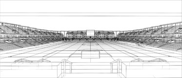 Schizzo di stadio di football americano royalty illustrazione gratis