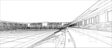 Schizzo di stadio di football americano illustrazione di stock