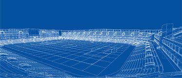 Schizzo di stadio di football americano illustrazione vettoriale