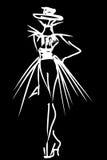 Schizzo di stile del tatuaggio della donna dell'illustrazione di modo Fotografie Stock