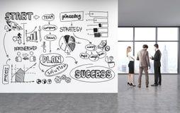 Schizzo di successo di affari sulla parete Fotografia Stock Libera da Diritti