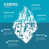 Schizzo di tiraggio della mano del menu di Infographic dell'iceberg Vettore illustrazione vettoriale