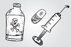Schizzo di tiraggio della mano di veleno illustrazione vettoriale