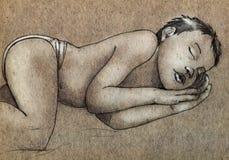 Schizzo di un bambino addormentato Immagine Stock Libera da Diritti