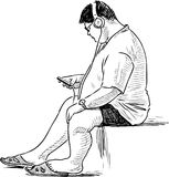 Schizzo di un giovane con il suo telefono cellulare Immagini Stock