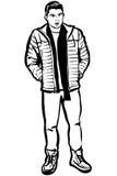 Schizzo di un giovane in un rivestimento ed in una sciarpa Immagine Stock