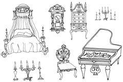 Schizzo di un insieme di mobilia e degli oggetti d'antiquariato Fotografie Stock