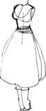 Schizzo di un manichino in un retro vestito Fotografia Stock