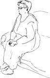 Schizzo di un riposo di seduta della nonna Fotografia Stock Libera da Diritti