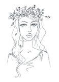Schizzo di una donna con i fiori in suoi capelli Immagine Stock Libera da Diritti