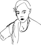 Schizzo di una ragazza con una sciarpa Fotografia Stock Libera da Diritti