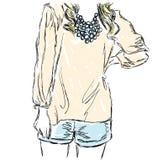 Schizzo di una ragazza in un vestito ed in un blu beige Fotografie Stock