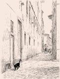 Schizzo di una via di vecchia città Fotografia Stock
