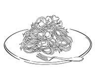 Schizzo di vettore del piatto degli spaghetti Isolato su bianco Immagini Stock Libere da Diritti