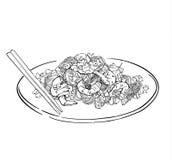Schizzo di vettore del piatto degli spaghetti Isolato su bianco Fotografia Stock