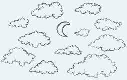 Schizzo di vettore Nuvole e mezzaluna Fotografie Stock
