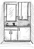 Schizzo disegnato DrukowanieHand Schizzo lineare di un interno Parte del bagno Illustrazione di vettore Fotografia Stock Libera da Diritti