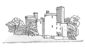 Schizzo disegnato a mano del castello inglese storico Fotografia Stock Libera da Diritti