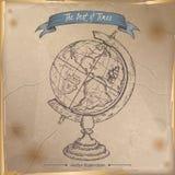Schizzo disegnato a mano del globo antico disposto su vecchio fondo di carta illustrazione vettoriale