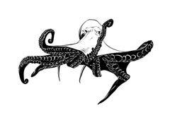 Schizzo disegnato a mano del polipo nel nero isolato su fondo bianco illustrazione di stock