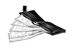Schizzo disegnato a mano del portafoglio con soldi nel nero isolati su fondo bianco royalty illustrazione gratis