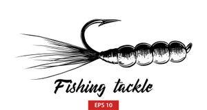 Schizzo disegnato a mano dell'attrezzatura di pesca nel nero isolata su fondo bianco Disegno d'annata dettagliato di stile incisi royalty illustrazione gratis