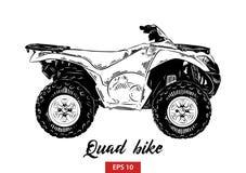 Schizzo disegnato a mano della bici del quadrato nel nero isolata su fondo bianco Disegno d'annata dettagliato di stile incisione royalty illustrazione gratis