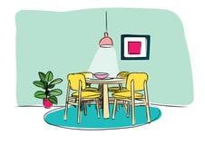 Schizzo disegnato a mano della sala da pranzo Illustrazione di vettore di interior design Fotografia Stock