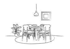 Schizzo disegnato a mano della sala da pranzo Illustrazione di vettore di interior design Fotografie Stock Libere da Diritti