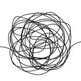 Schizzo disegnato a mano dello scarabocchio di groviglio o linea nera forma astratta sferica dello scarabocchio Cerchio caotico d royalty illustrazione gratis