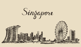Schizzo disegnato a mano di architettura di Singapore illustrazione vettoriale