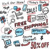 Schizzo disegnato a mano di lavagna - acquisto e vendite illustrazione di stock