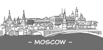Schizzo disegnato a mano di Mosca con la persona alta un dato numero di piedi scura Immagine Stock