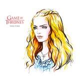 Schizzo disegnato a mano di Sansa rigido, gioco dei troni Fotografia Stock Libera da Diritti