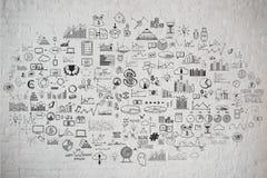 Schizzo disegnato a mano di scarabocchio della lavagna dell'istituto universitario della scuola Immagine Stock