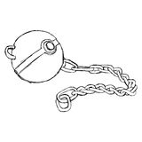 Schizzo disegnato a mano di scarabocchio di vettore dell'illustrazione della palla della catena del ferro Fotografie Stock