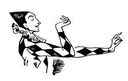 Schizzo disegnato a mano di vettore dell'illustrazione del giullare su fondo bianco royalty illustrazione gratis