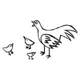 Schizzo disegnato a mano di vettore dell'illustrazione della gallina e del suo isolat del bambino Fotografie Stock Libere da Diritti
