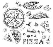 Schizzo disegnato a mano di vettore dell'illustrazione della pizza su fondo bianco royalty illustrazione gratis